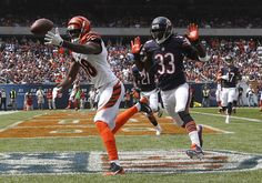 9a5cbaf23 Cincinnati Bengals wide receiver A. Green misses a catch in the end zone  against Chicago Bears cornerback Charles Tillman during the first half of  an NFL ...