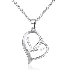 2016 New Crystal Horse Head Heart Pendant Necklaces For Women Silver Choker Necklaces Female Mom Gift Fashion Jewelry