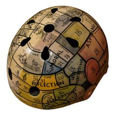 Handpainted phrenology bike helmet by Belle Helmets.  So funny!!  Retail price $300.00, Fab.com flash sale price $240.00.