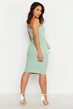 Womens Off The Shoulder Waist Peplum Midi Dress - Green - 10 Peplum Midi Dress, Black Bodycon Dress, Dress Up, Skater Dresses, Dress Black, Mint Green Outfits, Formal Wear Women, Bardot Dress, Bodycon Fashion