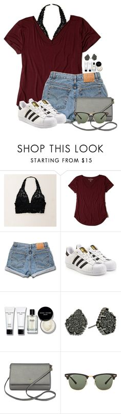 """""""Wish this was my real OOTD"""" by annaewakefield ❤ liked on Polyvore featuring Aerie, Hollister Co., Levi's, adidas Originals, Bobbi Brown Cosmetics, Kendra Scott, Kate Spade and Ray-Ban"""