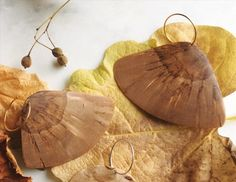Wooden birch earrings, sustainable and ethical jewelry for contemporary woman by TuijaRamsay on Etsy Wooden Earrings, Wooden Jewelry, Jewelry Box, Handmade Jewelry, Betula Pendula, Birch Branches, Wing Earrings, Golden Color, Butterfly Wings