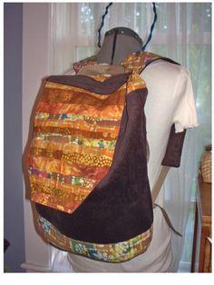 Brown Corduroy and Batik Patchwork Backpack by bluemermaid123, $56.00