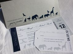love these.. Metallic Silver, Navy Blue & Gray Zoo Ticket Wedding Invitations, Luggage Tag RSVPs and Pocket Folders