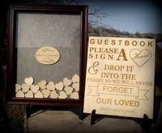 Wedding Guest Book Sign Heart Drop Box Shadow by BPLaserEngraving