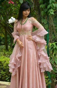 Designer Anarkali Suit of light pink colour with handwork on yoke. To customised such heavy garment log on to www.prasang,in Indian Attire, Indian Outfits, Indian Designer Outfits, Designer Dresses, Baby Pink Dresses, Baby Dress, Indian Gowns Dresses, Indian Long Dress, Anarkali Dress
