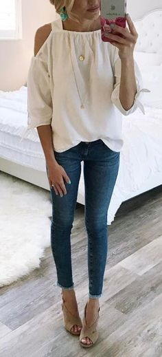 #spring #outfits White Cold Shoulder Top + Skinny Jeans