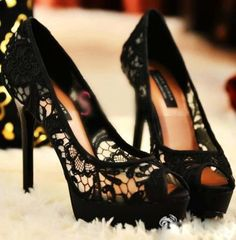 lace heels, these are cute