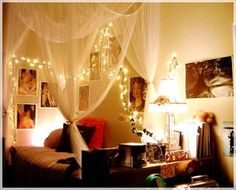 Christmas lights on the wall.