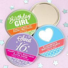 Kids Birthday Personalized Mirrors-Our Personalized Birthday Mirror favors are great gift that will add a little pizzazz to your next big birthday celebration! To personalize them, you can choose a pattern, a design icon, 2 colors, and 3 lines of tex