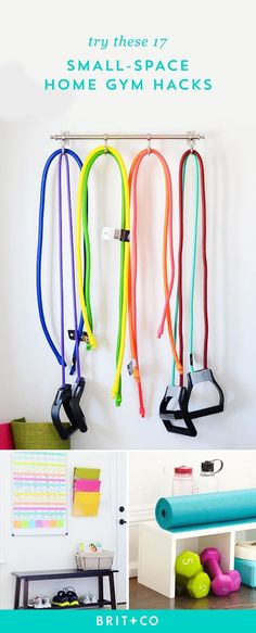 Have a good workout right at your home! A small-space is all you really need for your mini-gym. Here are 17 storage and organization hacks for your fitness equipment.