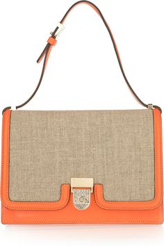 Victoria Beckham | orange leather and canvas shoulder bag | NET-A-PORTER.COM