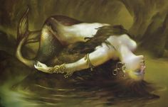 The Goddess Atargatis, mother of Assyrian queen Semiramis, loved a mortal shepherd and unintentionally killed him. Ashamed, she jumped into a lake to take the form of a fish, but the waters would not conceal her divine beauty. Thereafter, she took the form of a mermaid—human above the waist, fish below...