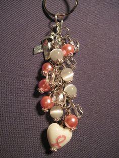 Pink Ribbon Glass Beaded Purse Charm / Key Chain by FoxyFundanglesByCori, $10.00