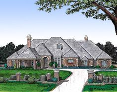 For the Wide Lot - 48022FM | 1st Floor Master Suite, Butler Walk-in Pantry, CAD Available, Corner Lot, Den-Office-Library-Study, European, Luxury, MBR Sitting Area, PDF, Split Bedrooms, Traditional | Architectural Designs
