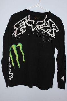Fox racing monster energy motocross long sleeve shirt L # 4 Ricky Carmichael #FoxRacing #GraphicTee