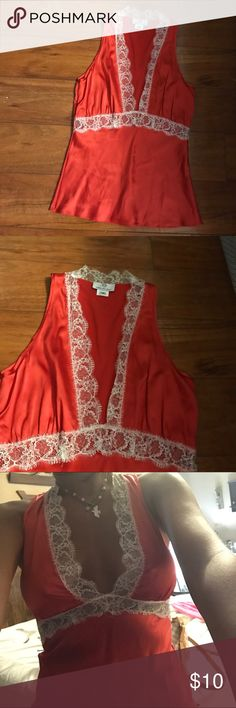 MiguelIna xs red lace deep v neck tank top silk See pics miguelina  Tops Tank Tops