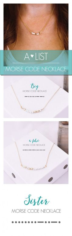 Keep it subtle with these cute Sorority Morse Code Necklaces. Available at www.alistgreek.com. Makes a great initiation, bid day or big/little gift! #sorority