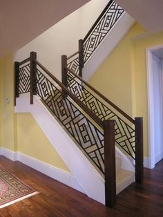 Pretty railing for the basement stairs.
