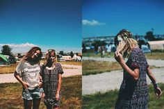 #ZoeLazerson wears a printed button dress and flower crown. #AshleyJensen wears a slouchy macrame tee and light repair festival shorts. #Sasquatch2015 #GarageFestival #iweargarage