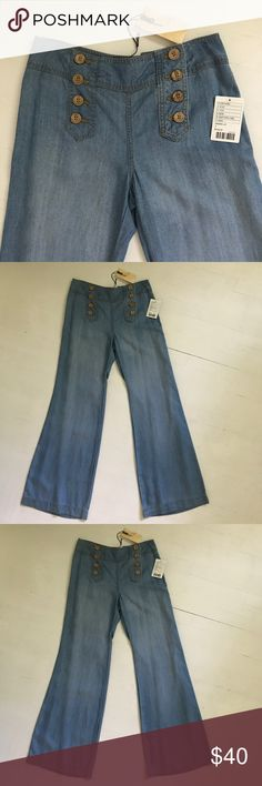 Elevenses chambray sailor jeans from Anthropologie Elevenses chambray wide leg sailor jeans from Anthropologie. Awesome lightweight 70s style bell bottoms with a super flattering high waist. New with tags. Non-smoking home. Anthropologie Jeans Flare & Wide Leg