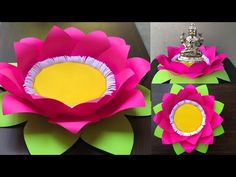 Paper Flowers Craft, Paper Crafts Origami, Flower Crafts, Paper Crafting, Diy Flower, Lotus Flower, Flower Crown, Diwali Decorations At Home, Festival Decorations