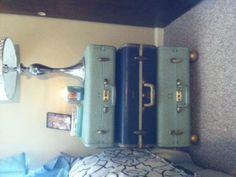 DIY vintage suitcase nightstand