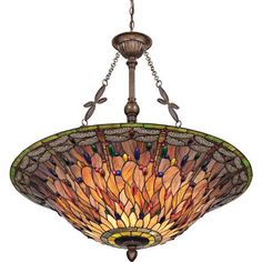 """Quoizel Dragonfly 35 1/2"""" Wide Tiffany Style Pendant Light"""