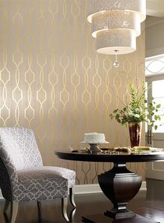 49 Modern Wallpaper Decoration for Living Room Ideas - Modern Home Design Art Deco Wallpaper, Modern Wallpaper, Accent Wallpaper, Metallic Wallpaper, Gold Wallpaper Birds, Wallpaper Ideas, Grey And Gold Wallpaper, Glam Wallpaper, Stripe Wallpaper