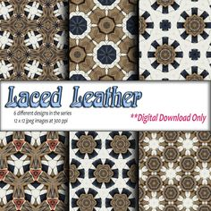 Digital Download Printable paper craft DIY gift wrapping paper and digital background Brown Blue Leather Geometric Design