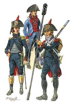 Ufficiale e cannoniere dell'artiglieria a piedi e conduttore del treno di artiglieria