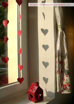 Heart garland Heart Garland, Decoupage, Curtains, Home Decor, Homemade Home Decor, Interior Design, Home Interiors, Decoration Home, Window Scarf