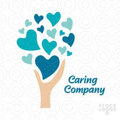 heart, tree & hand love care logo