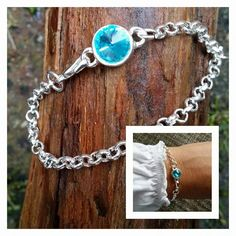 Mooie schakel armband met een preciosa steen. Kan in verschillende kleurtjes steen.