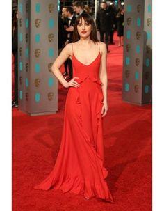 Dakota Johnson Ruffled A Line Spaghetti Straps Red BAFTA Awards 2016 Red Carpet Inspired Prom Dress