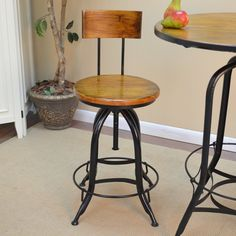 Adjustable Swivel Weston Stool with Back - Black - Accent your contemporary dining décor with the Adjustable Swivel Weston Stool with Back – Black. The sleek, elegant curves of this s...