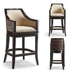 Sheldon beautifully captures the light, natural look of woven seagrass. Handcrafted of hardwood mahogany, the exterior back is covered in seagrass for island-inspired style, while the padded seat and back of the stool's slim-profile interior are upholstered in a breezy linen or a supple leather for classic comfort. Handcrafted hardwood mahogany frameHand-applied nailhead trimSand finish is antiqued and highly distressed for a one-of-a-kind lookSlim-profile interior is 16 wideBrass-plated…