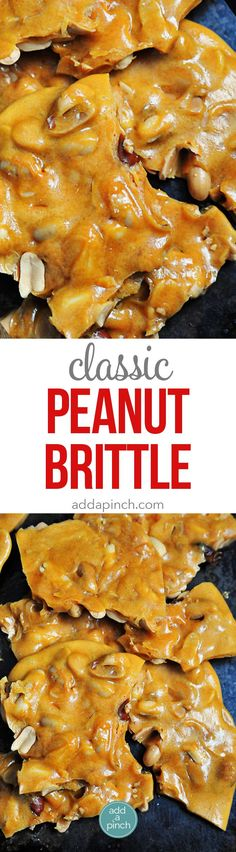 Peanut Brittle Recipe - Peanut Brittle is a delicious, old-fashioned, buttery treat. This peanut brittle recipe has been handed down through the generations and is always a favorite! // http://addapinch.com