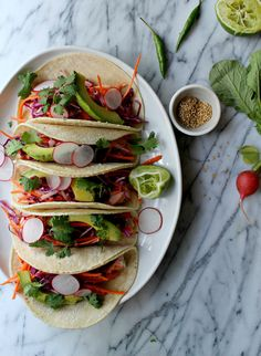 Salmon Tacos with Thai Cabbage Salad