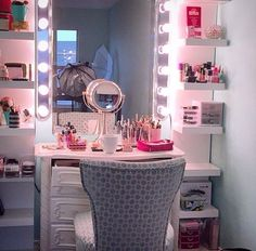 Vanity with side shelving