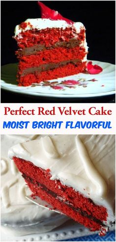 Moist, bright red, and flavorful red velvet cake. Perfect combination of beautiful, vibrant color, delicate cocoa flavor, and tangy cream cheese frosting is elusive but when you find it is amazing. Best Dessert Recipes, No Bake Desserts, Cake Recipes, Snack Recipes, Delicious Recipes, Perfect Red Velvet Cake Recipe, Red Velvet Cake Moist, Frosting Recipes, Cocoa