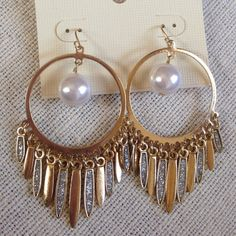 Pearl Hoops Gold hoops with a dangling Pearl in the middle and dangling charms with glitter Jewelry Earrings