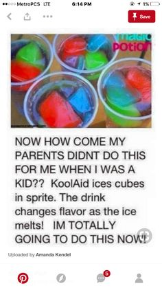 Babysitting ideas / ideas for me haha kool-aid ice cubes Kool Aid, Comida Diy, Party Hard, Party Fun, Kid Drinks, Beverages, Party Drinks, Summer Drinks Kids, Summer Fun For Kids