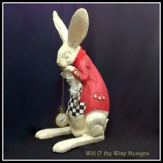 White Rabbit table figurine is 14 tall Alice in Wonderland inspired table decoration. This large precious White Rabbit is hand painted & decorated and made to order as shown OR request your choice of colors to match your event. Absolutely must have item for Alice in Wonderland