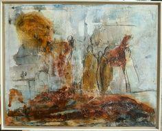 """""""Vanitas vanitatis""""  (Eitelkeit der Eitelkeiten)   Marmormehl, Beize, Schellack, Pigmente,  Wachs und Schlussfirniss auf Keilrahmen  80 x 100 x 2 cm"""