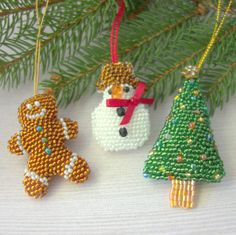 Traditional Ornament Set - Snowman, Christmas Tree, Gingerbread Man - Festive Decor for the Tree - Gift for Mom - Gift for New Home by DewCatDesigns on Etsy