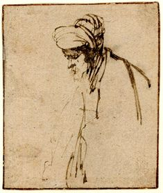 Rembrandt, , sketch of a Rabbi; HL, turned to l. c.1628-9, pen and brown ink