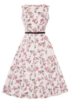 "The Famous ""Lady Vintage"" Audrey Hepburn Dress features a full 1950s style flared..."