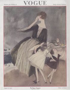the August 15, 1922 issue of Vogue Magazine, by illustrator Henry R. Sutter. Handmade, pencil-drawn look, a very unusual Vogue cover.