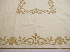 Vintage Tablecloth, Vintage Tablecloth with Embroidery, Cross Stitch Brown Floral, Large Tablecloth by VintagePlusCrafts on Etsy